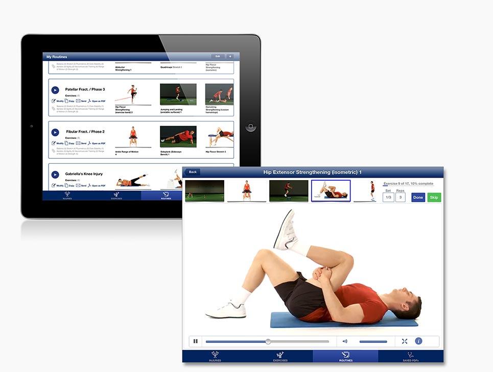 Rehabilitation Lower Limbs - Routines -interface screenshot