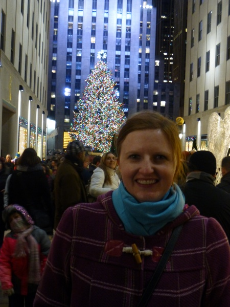 Kristia in NYC with the Rockefeller Center Christmas Tree!