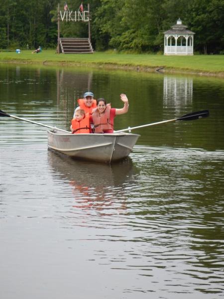 On a canoe ride.