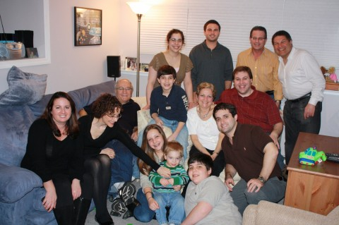 Holiday gathering with grandparents, aunts, uncles and cousins.