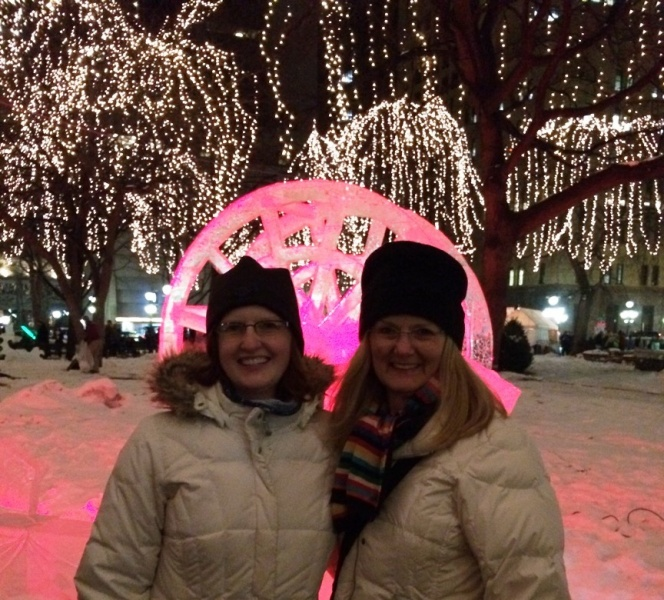 Kirstia & her mom at the St Paul Winter Carnival.  All Hail King Boreas!