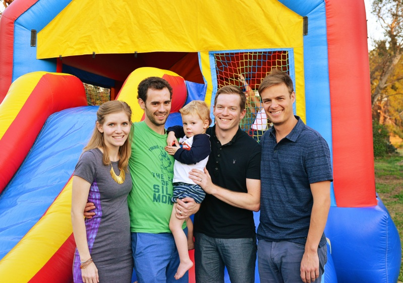 Erik's sister, brother-in-law, and nephew Jack.  Jack looks sad because he's not in the bouncy house!