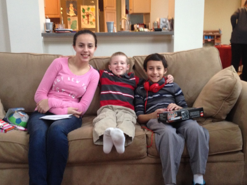 Brandon with his cousins