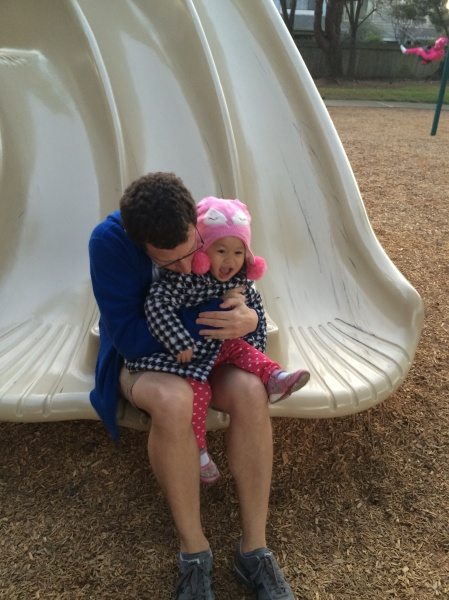 Alivia thinks slides are fun!