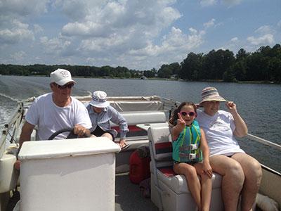 With Grandma and Grandpa at the family lakehouse