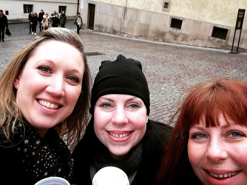 Cindy, her sister and their friend in Prague