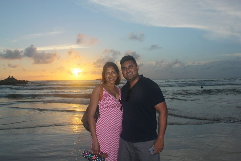 Enjoying a beautiful sunset on our trip to Sri Lanka