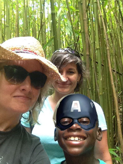 A group selfie in the bamboo forest!