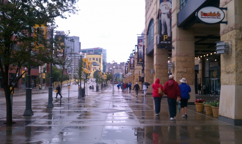 The Dziubans heading towards PNC baseball stadium while LB and I hang back and take pictures.