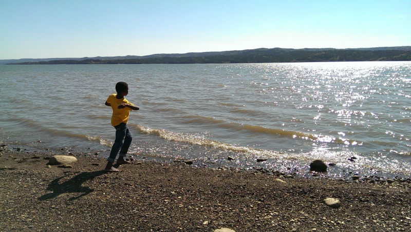 Skipping rocks in the Missouri river, not far from where Lewis and Clark passed through.