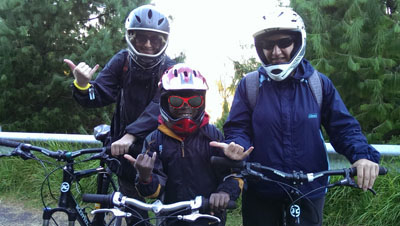 Just prior to taking off on a 23 down the volcano bike ride in the morning.