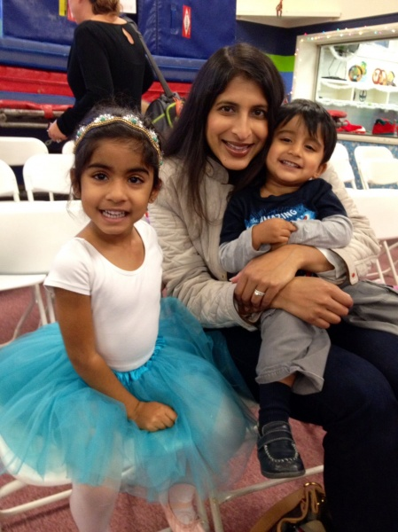 Meera with niece, Aria, and nephew, Neil, at Aria's ballet recital