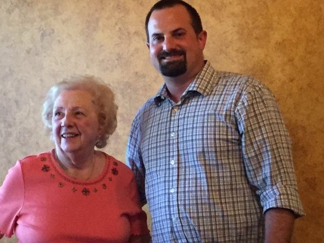 Chris with his Godmother Simonne celebrating her 85th birthday