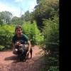Walking Harper in a nature reserve.