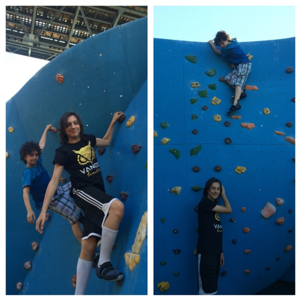 Outdoor rock climbing in my neighbor hood with my nephews