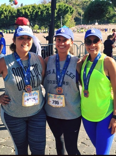 Liz running the Dodger 10k with friends.