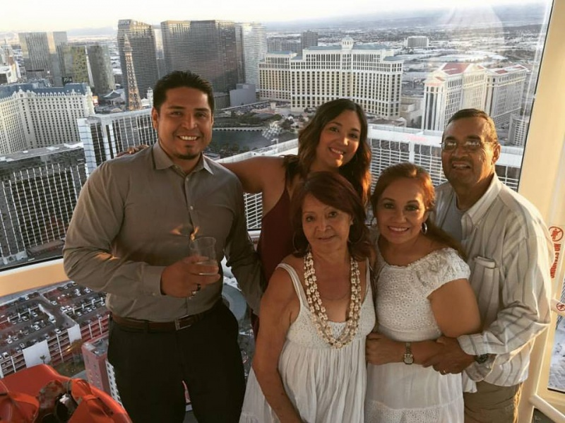 On the Linq in Las Vegas with Liz's Mom & Dad and Luis' Mom.