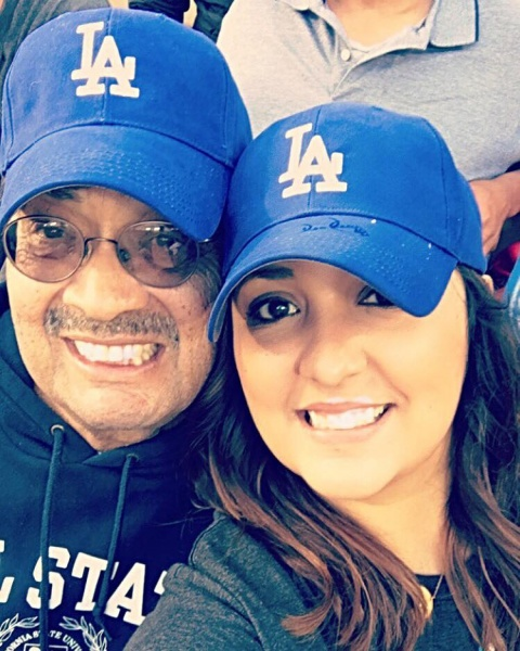 Liz with her Dad Rey at a Dodger Game for his birthday.