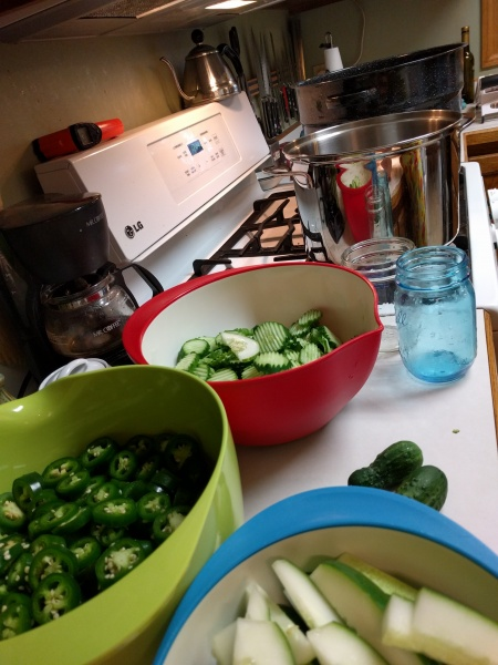 Pickling our extra cucumbers & peppers from the garden.