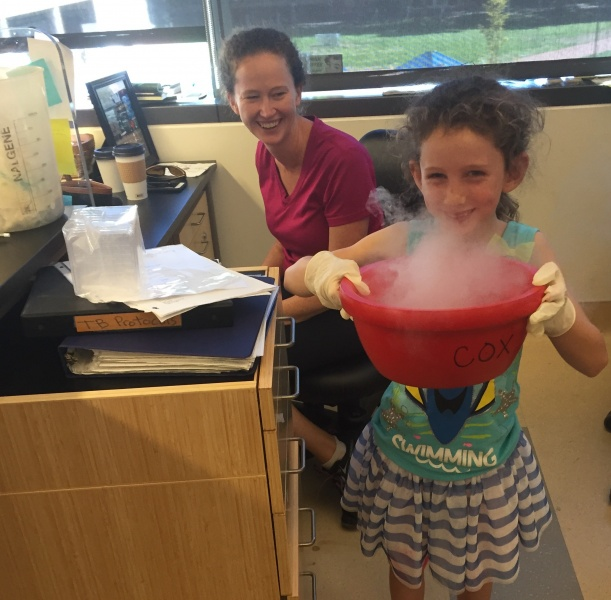 If you've got to stop by the laboratory quickly with the family... might as well make it fun! The dry-ice volcano was a big hit!