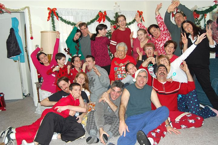We're a crazy family and have fun on Christmas morning together!