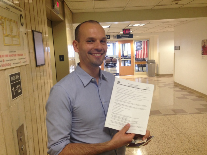 Guillaume receiving his American citizenship in 2015.