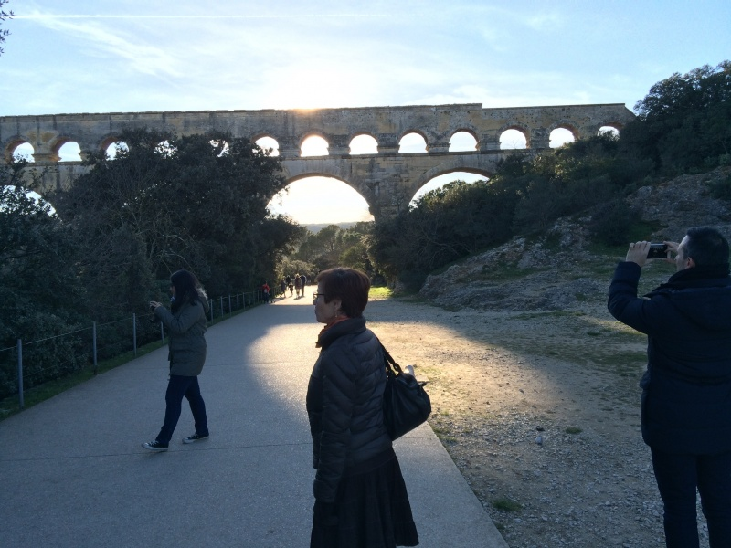 Guillaume's family visiting the Pont du Gard in provence
