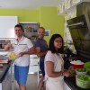 Guillaume and Tom preparing lunch with Guillaume's sister, Camille!
