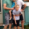 Tom and Guillaume making funny faces with our nephew and niece, Alex and Simone