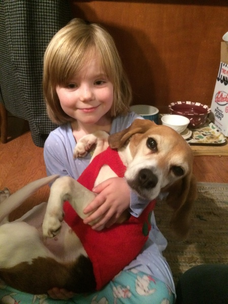 Our niece, Eva, with sweet Elle