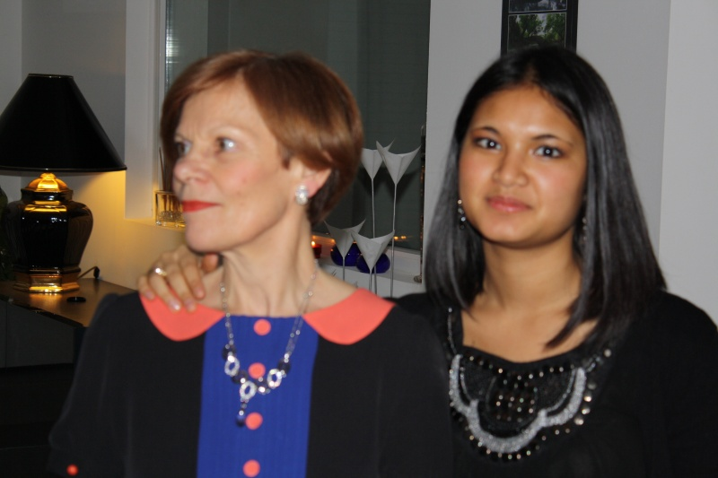 Guillaume's mother and sister, Camille during Christmas in France