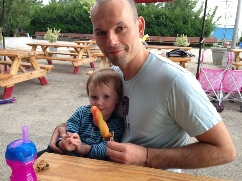 Guillaume and our niece, Elise, taking a break during a hot summer