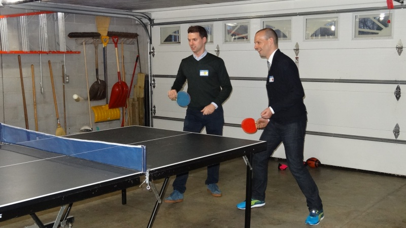 Very serious ping-pong playing - we lost;(