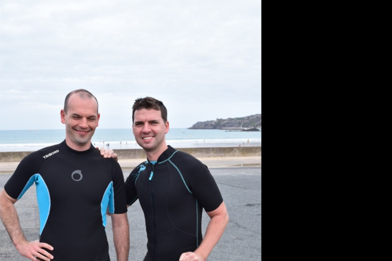 """After our """"walk in the ocean"""" routine in Bretagne, France!"""
