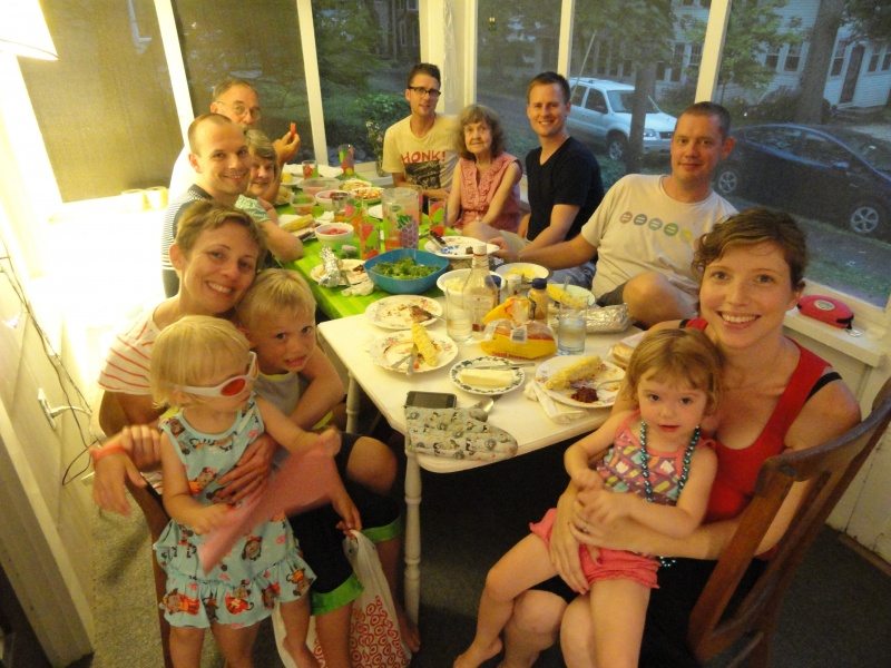 Family dinner at the summer cottage