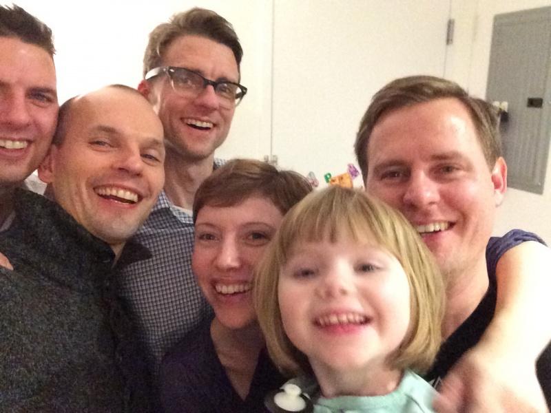 Selfie with Tom's siblings and niece in Brooklyn