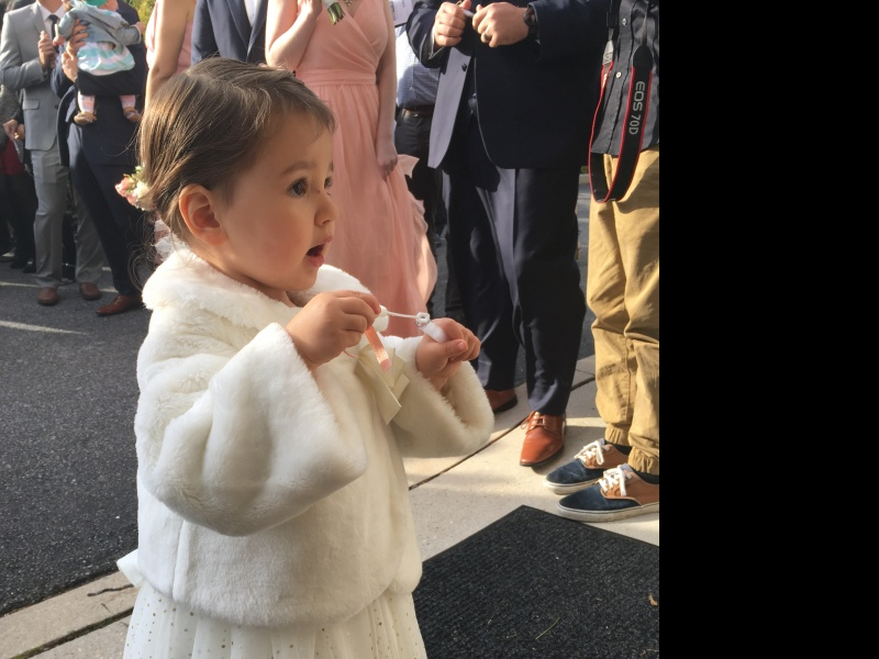 Aria's first time as a flower girl