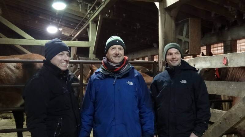 Guillaume with his father and Sebastien, his brother-in-law, visiting stables
