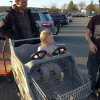 Our friends' daughter, Nora, trying for the first time the Home Depot cart - everything is so much more fun in the US!