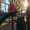 Tom and our niece, Elise, at our closest playground