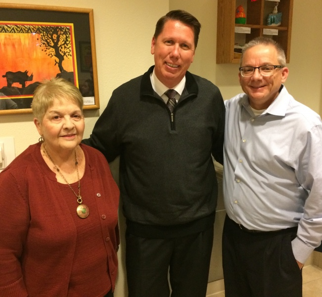 Rob with Dave and his mother, JoAnn. Rob's teaching recognition award.