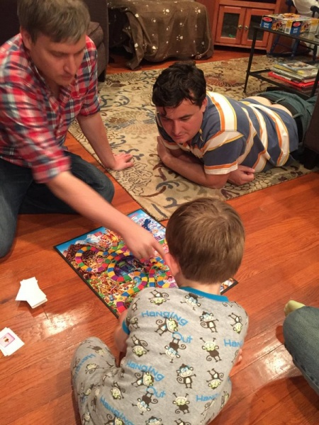 Playing Candy Land with James, the son of our friends Jessica and Dave