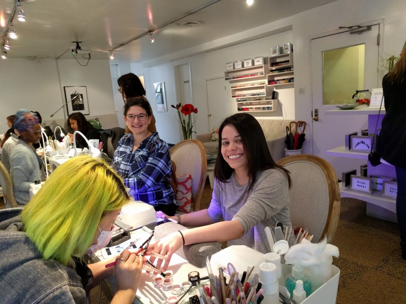 Getting my nails done in NYC with my sister in law