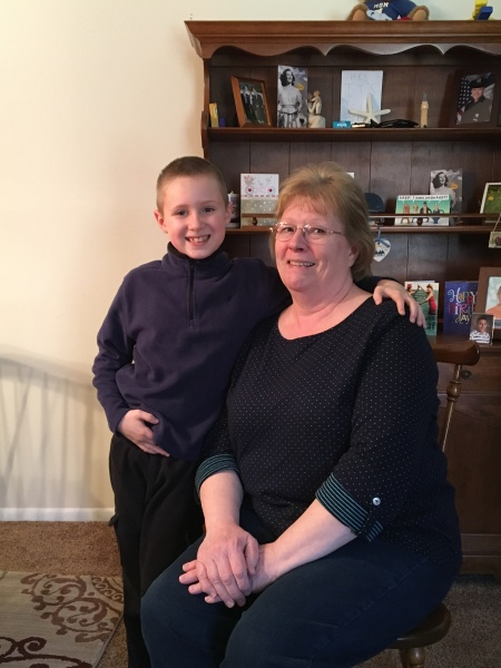 Brandon with Nana posing for a Grandparent's Project