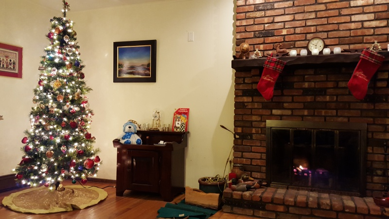 Holiday decorations in the living room