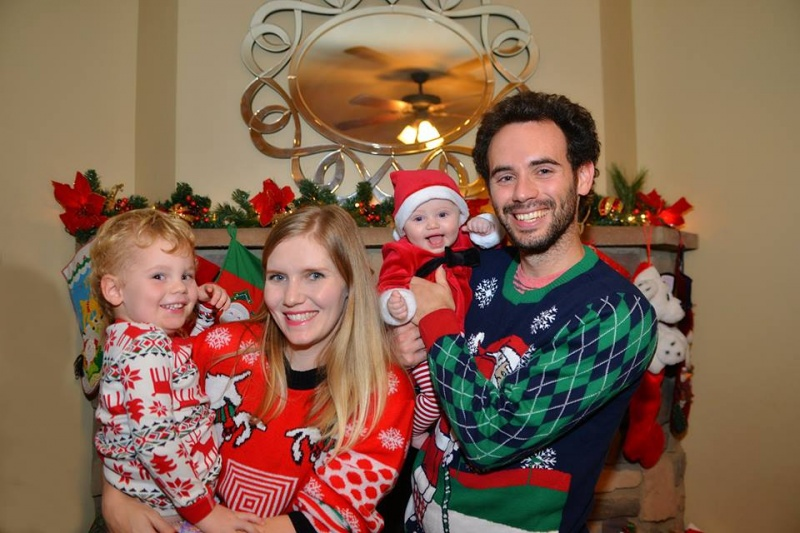 Erik's sister and her family looking festive