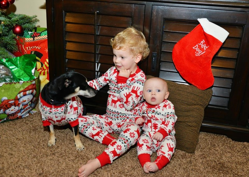 Erik's niece Siena, nephew Jack, and Babbo enjoying their matching pajamas