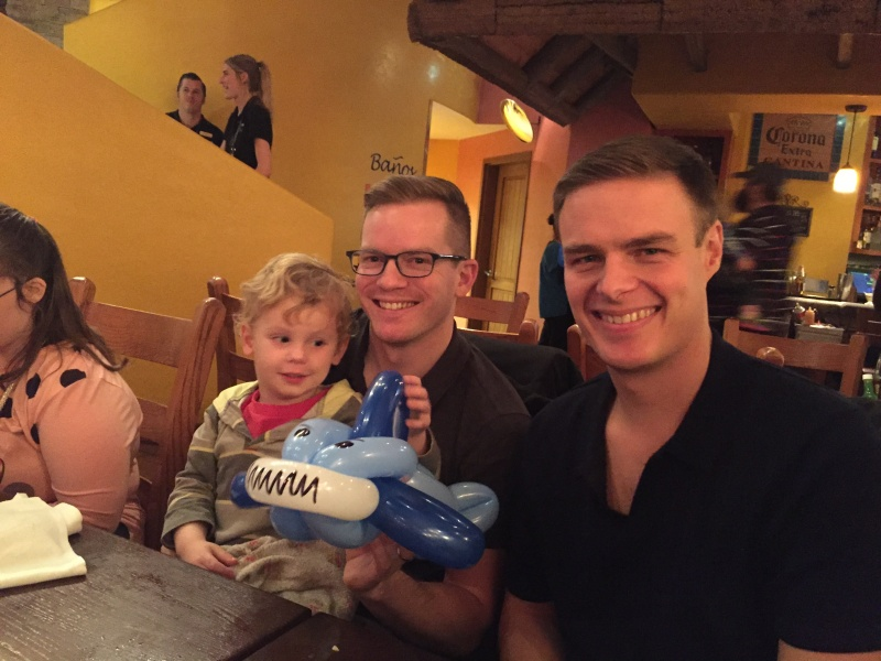 Celebrating with nephew Jack and his balloon shark