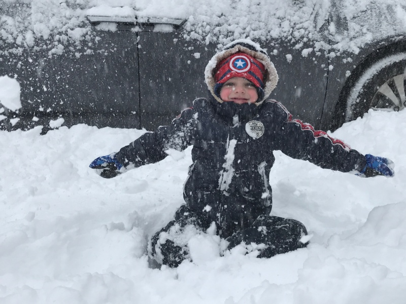 No one loves snow more than this kid!