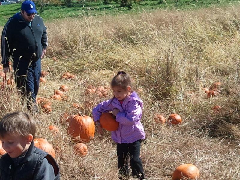 Pumpkin picking with Kayla, Laura's goddaughter
